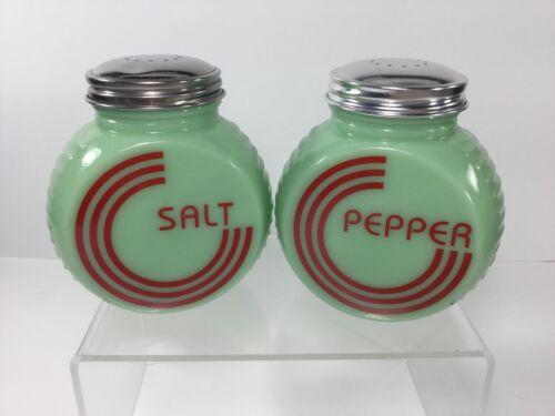Large Range / Kitchen Round Red Art Deco Jadeite Green Glass, Salt & Pepper Set