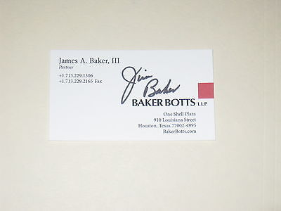 Secretary Of State James Baker Iii Signed Business Card Autograph