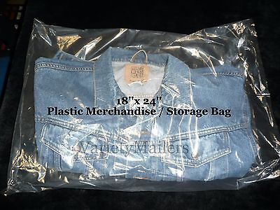 50 Large Clear Plastic Merchandise Bag Combo 18x24 15x18 Expedited Shipping