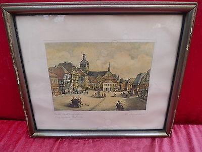 altes Bild__Marktplatz__original Radierung 1820__signiert !