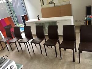 7 Dark Brown Faux leather dinning chairs Riverview Lane Cove Area Preview
