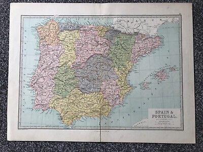 "Retro ""Spain & Portugal"" Map (45 X 35cm)"