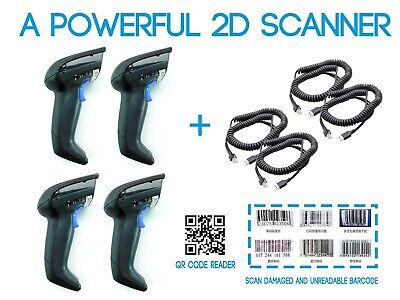Lot Of 4 Datalogic Gryphon 1d 2d Barcode Reader And Scanner Gd4400 With Usb Cord