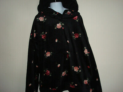 Girl Abercrombie Kids Black Floral Velour Popover Hoodie Size 13/14 NWT