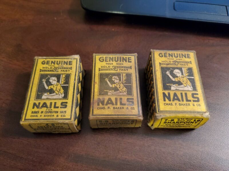 LOT OF 3 VINTAGE BOXES OF GENUINE HOLD FAST COBBLERS NAILS