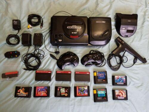Sega Genesis/CD/Power Base consoles, 12 games, accessories LOT – nice shape!!