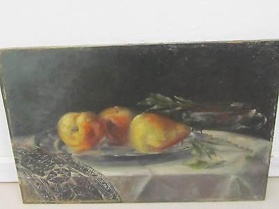 Antikes Früchte Stillleben, Öl auf Holz, sig. Mariel? 1894, ungerahmt