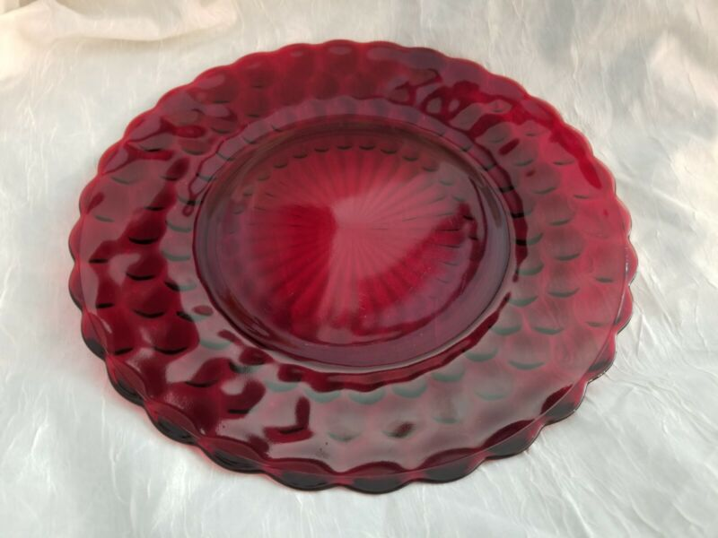 Vintage Mid-Century ANCHOR HOCKING Royal Ruby Red Bubble Pattern Dinner Plate