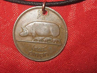 ANTIQUE VINTAGE  RUSTIC IRISH IRELAND PIG/HARP COIN PENDANT NECKLACE