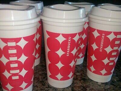 Starbucks Reusable Plastic Coffee Cup White pink dots Grande 16oz Hot Beverage 16 Oz White Plastic Cups