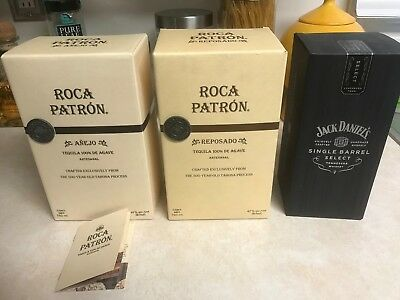 4  items Patron Anejo + reposado Tequila + Jack Daniels + Don Julio EMPTY BOXES