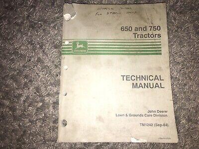 John Deere 650 750 Tractor Factory Technical Service Manual Tm1242