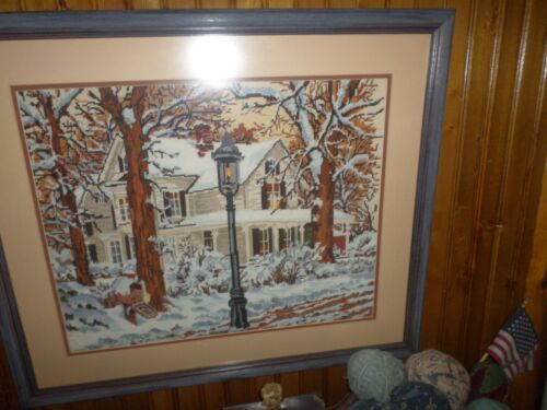 "Old New England Farmhouse Winter /Fall Framed Needlepoint 27"" X 23"" Great Color"