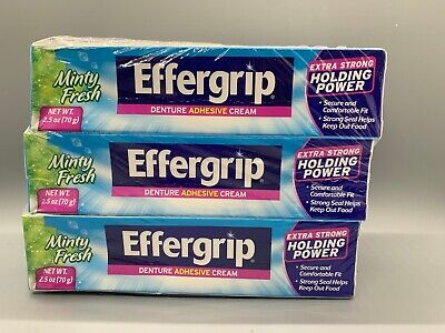 3 Pack Effergrip Denture Adhesive Cream Minty Fresh 2.50 oz Each Effergrip Denture Adhesive Cream