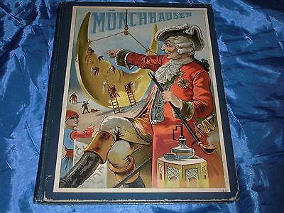 Antik Buch , Reisen und Abenteuer des Freiherrn von Münchhausen , illustriert