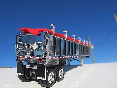 DCP 1/64 SCALE EAST END DUMP TRAILER WITH CHROME SIDES SILVER FRAME RED TARP 1