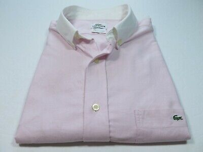 Lacoste Men's Cotton Solid Pink White Collar Casual Shirt Euro 42 Large France