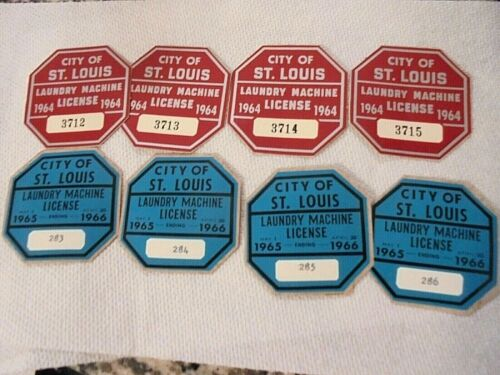 Lot of 8 Vintage 1964 & 1965-66 St Louis Laundry Machine License Sticker Tags