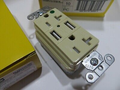 Lot Of 10 Hubbell Snap8300usbi Hospital Grade Ivory Usb Outlet