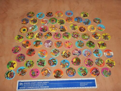 """1990s LOT OF 70 RAT FINK POGS / PLAY CAPS, ALL DIFFERENT - ED """"BIG DADDY"""" ROTH"""