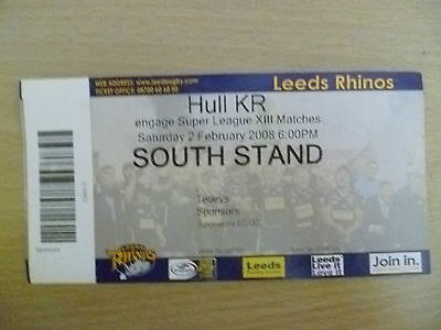 Rugby Match Ticket- 2008 Engage Super League XIII- LEEDS RHINOS- HULL RK