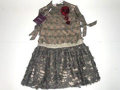 Val & Max New Girl Kids PLAID RUFFLE DRESS w FLOWERS & SEQUIN Sz 6 RTL $450 P913