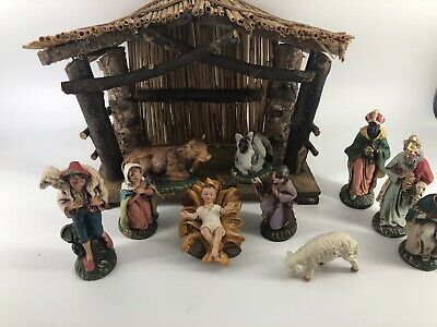 Fontanini ? Vintage Paper Mache Italy 11 Piece Nativity Set