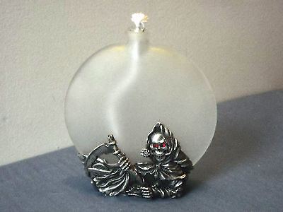 Grim Reaper Skeleton Oil Candle Pewter Base Red Eyes Inc Glass Insert & Wick