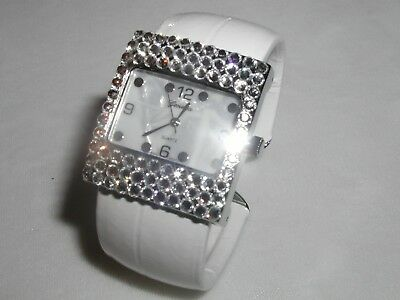 AUSTRIAN CRYSTAL BRACELET CUFF WATCH WHITE WIDE BAND GREAT GIFT!!! NEW!