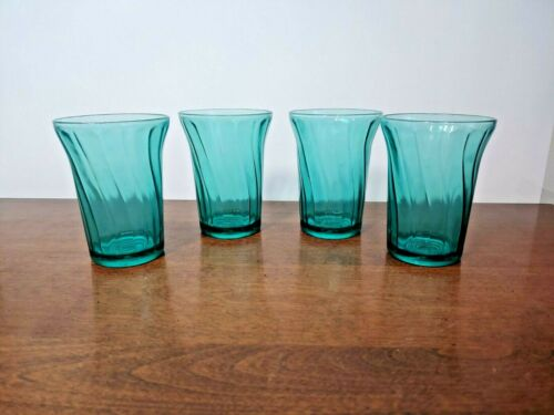JEANNETTE PETAL SWIRL ULTRAMARINE 9oz TUMBLER SET OF FOUR