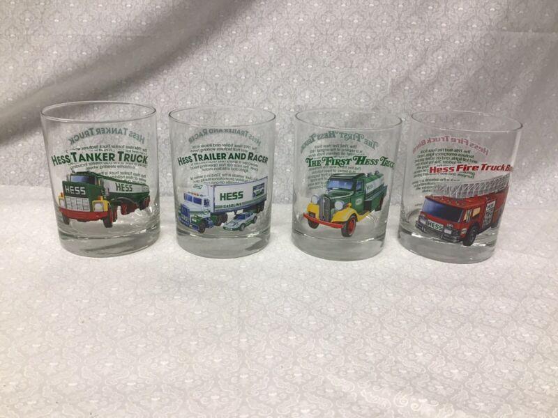 4 Hess Oil Classic 12oz Glasses 1st Truck Fire Truck Tanker Trailer & Racer 1996
