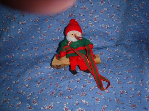 "Cute Christmas Ornament Elf on Wood Swing  Mixed Materials Wood is About 4"" Long"