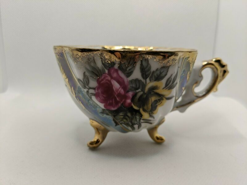 Napco Iridescent Gold and White Floral Tea Cup with Red and Yellow Roses