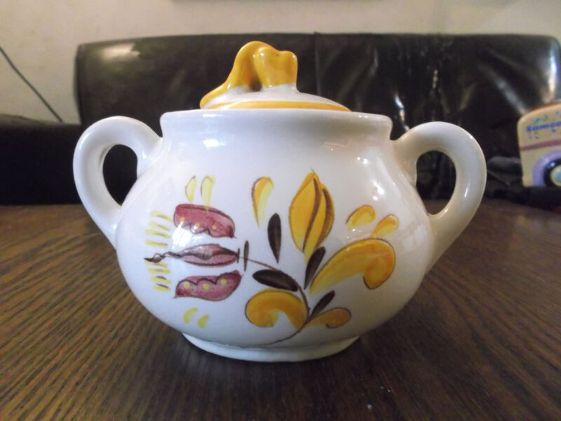 Stangl Provincial Sugar Container With Lid Pottery Yellow Vintage No Reserve