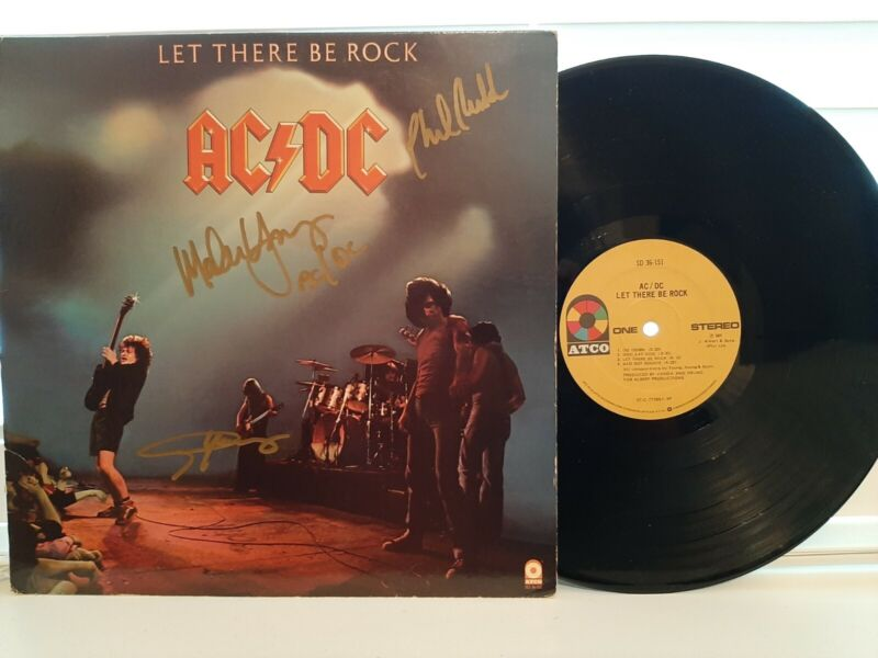 AC/DC Let There Be Rock Signed Album Malcom, Angus, Phil