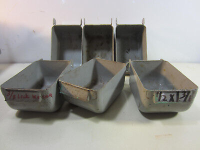 6 Vintage Metal Industrial Parts Bins Whook Backs 3