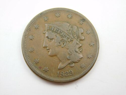 1839 Large Cent Very Fine Booby Head  (760)