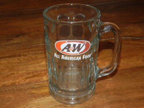 """VTG A&W ROOT BEER FLOAT SODA ALL AMERICAN FOOD HEAVY THICK GLASS MUG 12oz 6"""""""
