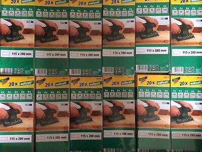 200 Wolfcraft Bogen Schleifpapier 115 x 280 mm  ungelocht Schleifmittel für Holz