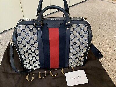 Authentic Gucci Canvas Vintage Web Boston Bag