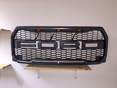For 2015 17 Ford F150 Raptor Style FRONT Bumper Grille dark GRAY LED FR Letters