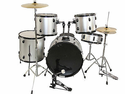 NEW SILVER COMPLETE 5 PIECE ADULT DRUM SET CYMBALS FULL SIZE on Rummage