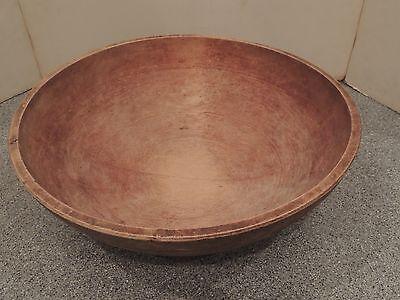 "Vintage Large Primitive Antique Wooden Bread Bowl Off Round 17 1/4"" / 16 1/4"""
