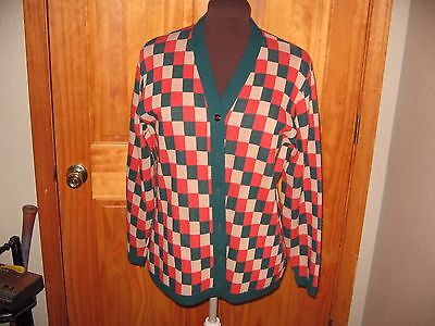 Vintage Womans Argyle Sweater  Awesome   Haymaker Cool  Rust Green   Beige