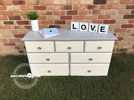 6 Drawer Lowboy Cabinet Chest Dresser White/Walnut | Cabinets ...
