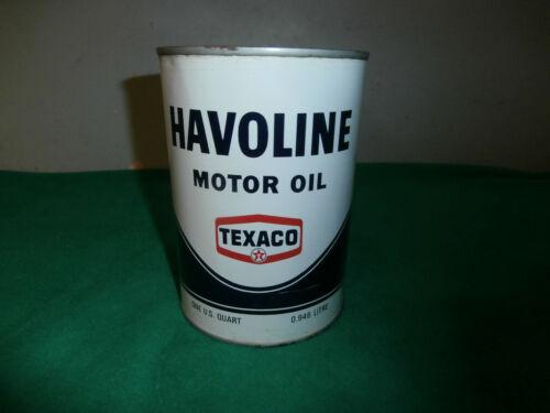 VINTAGE TEXACO HAVOLINE TIN QUART OIL CAN - NEW OLD STOCK FULL