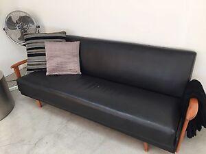 Gorgeous Black Leather Retro 3 seater couch Paddington Eastern Suburbs Preview