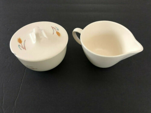 Salem China Bountiful Wheat, Aqua & Gray Leaves - CREAMER & SUGAR BOWL SET