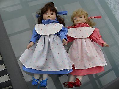 2 Sammler-Puppen Mädchen Haarfarben brünett und blond