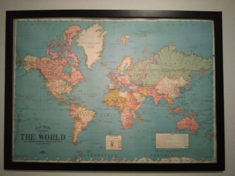 Framed world map art gumtree australia inner sydney 1 of 1 gumiabroncs Images